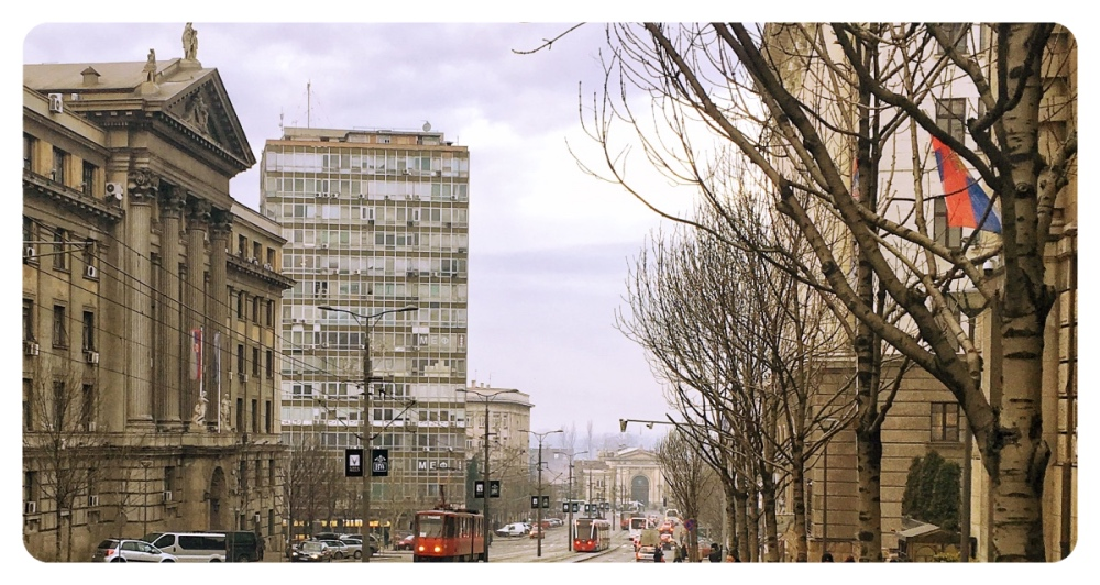 A view on Nemanjina street, Ministry of Transport building and the old Main Railway Station