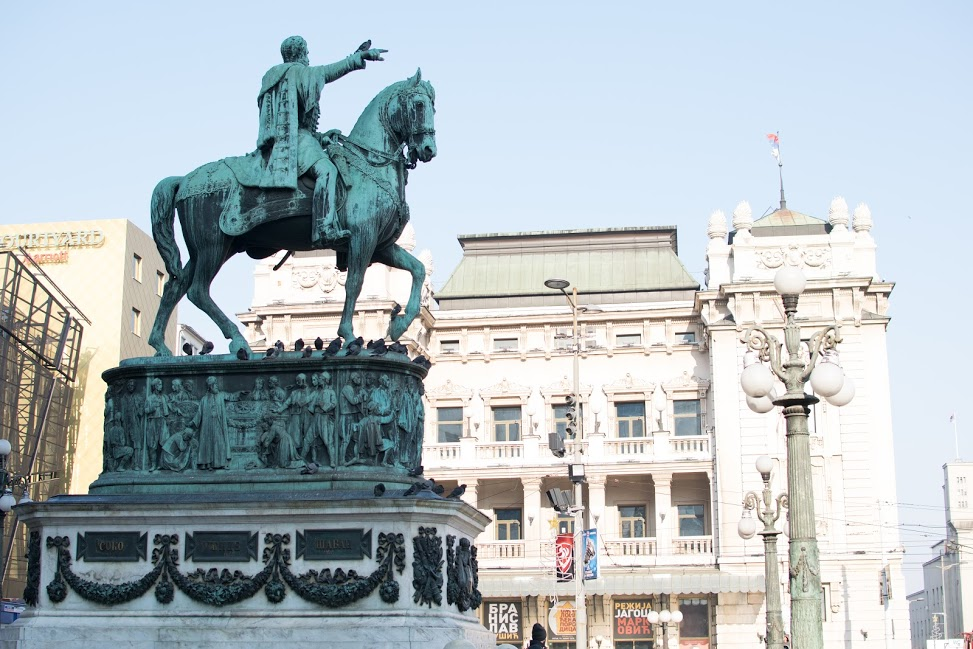 A view on the monument to Knez Mihailo and the National Theater