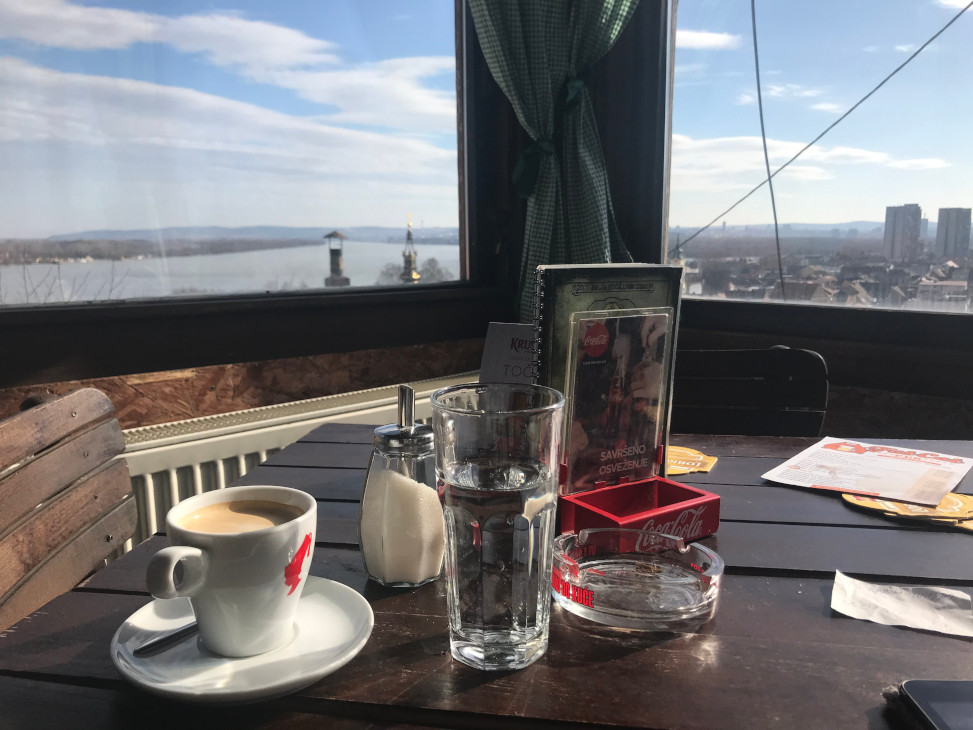 Cup of coffee with a view on Belgrade