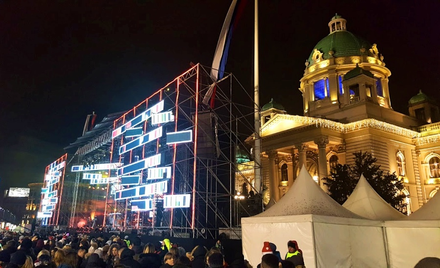 New Year's concert stage in front of the National Assembly of Serbia