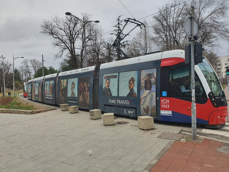 Tram decorated with paintings from the National Museum of Serbia